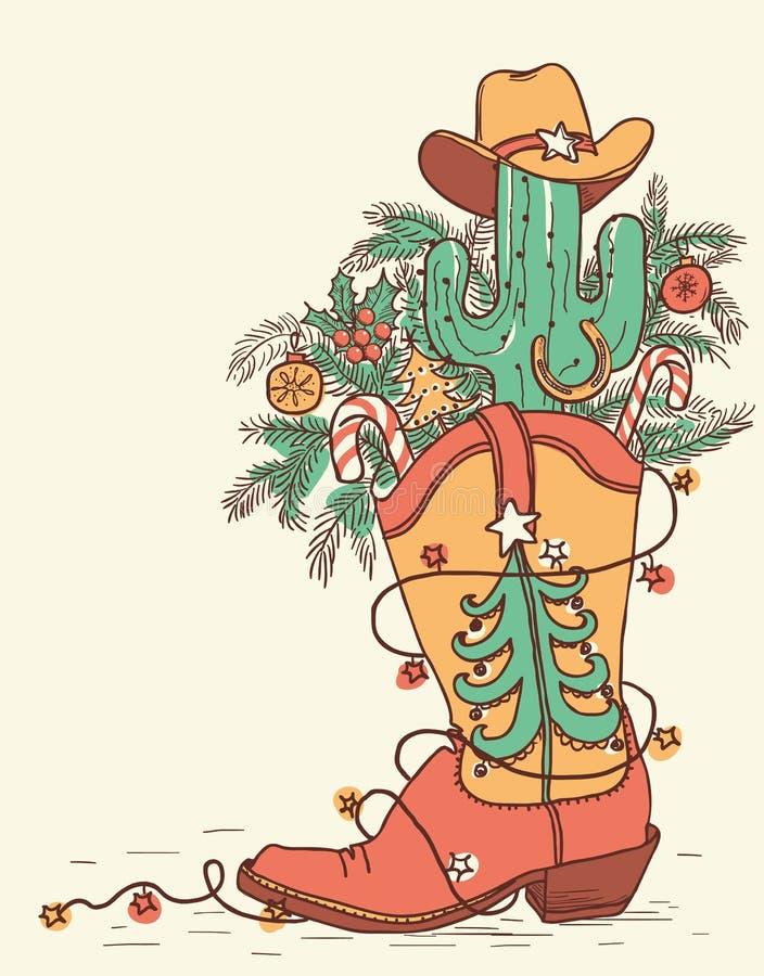 Cowboylaars met Kerstmiselementen op wit worden geïsoleerd dat Vector han royalty-vrije illustratie