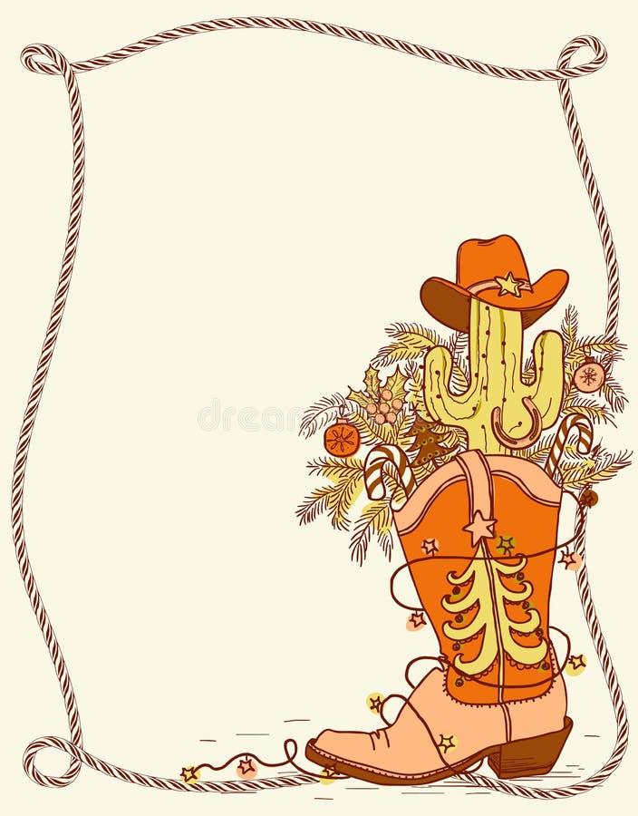 Cowboylaars met Kerstmiselementen Vectorhand getrokken zieke kleur vector illustratie