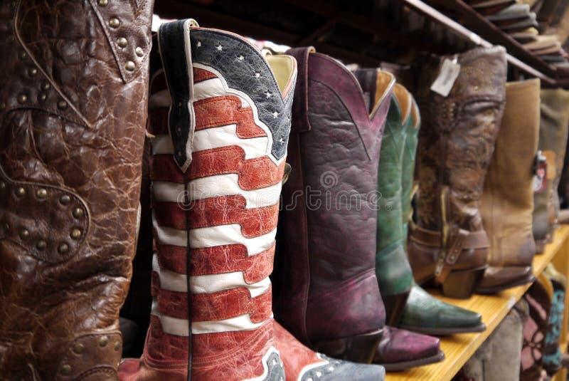 Cowboylaarzen: sterren en strepenvlag royalty-vrije stock foto