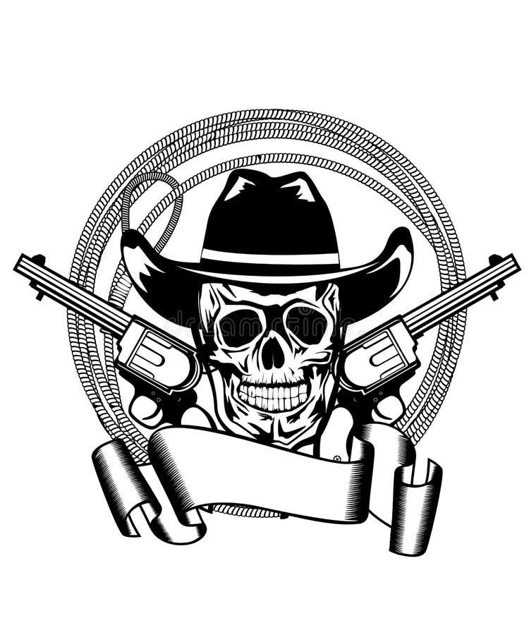 cowboypistoler två stock illustrationer
