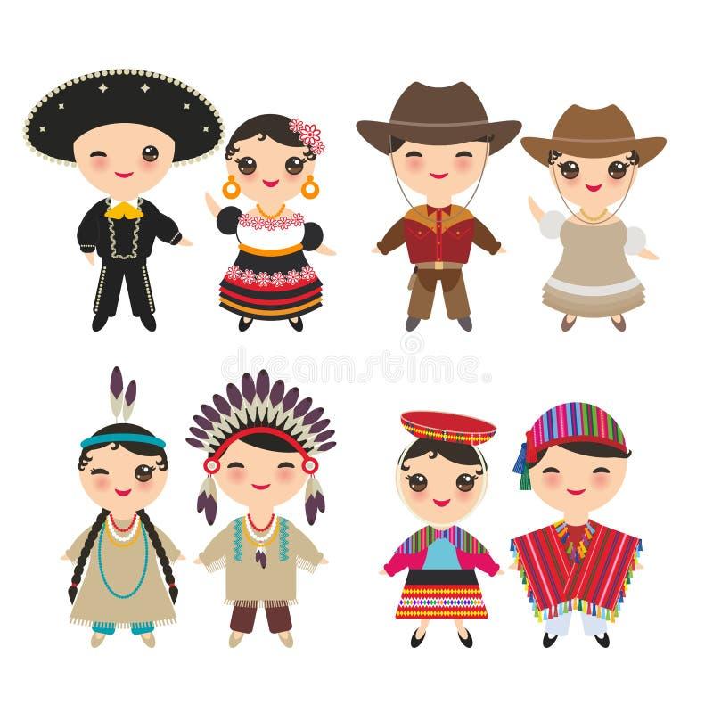 Cowboypojke och flicka för mexicanska amerikanska indier peruansk i nationell dräkt och hatt Tecknad filmbarn i den isolerade tra stock illustrationer