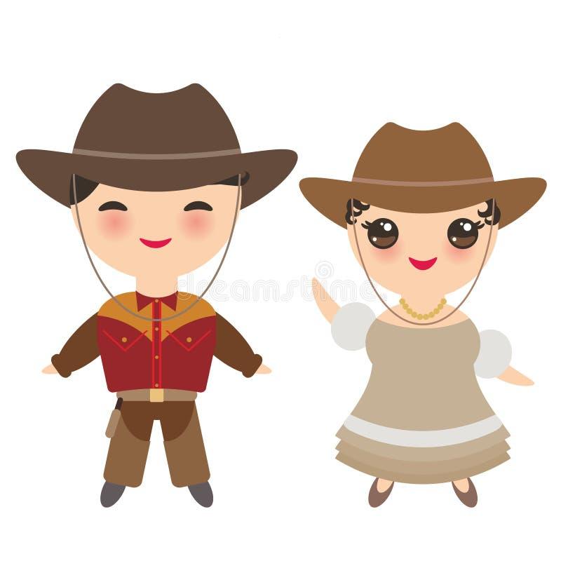 Cowboypojke och flicka i nationell dräkt och hatt Tecknad filmbarn i traditionell klänning bakgrund isolerad white vektor royaltyfri illustrationer
