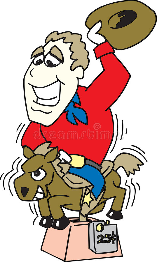 cowboyponnyridning stock illustrationer