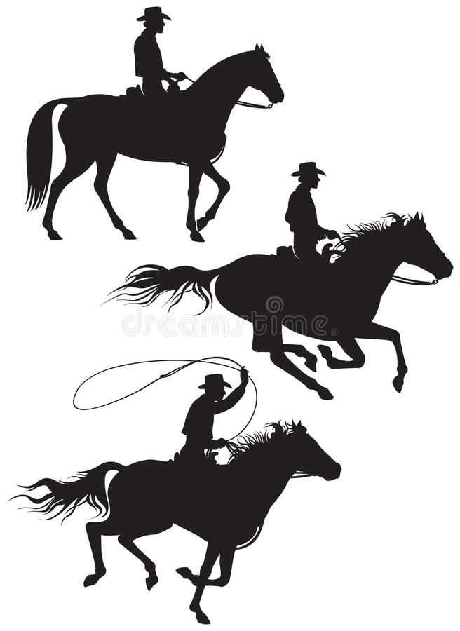 Cowboyranchägaresilhouettes stock illustrationer
