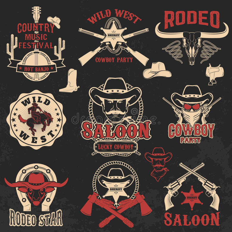Cowboyrodeo, wilde Westenaufkleber stock abbildung