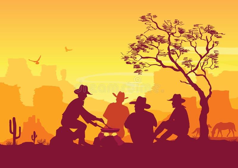 Cowboys autour d'un feu de camp Paysage américain occidental de désert illustration de vecteur