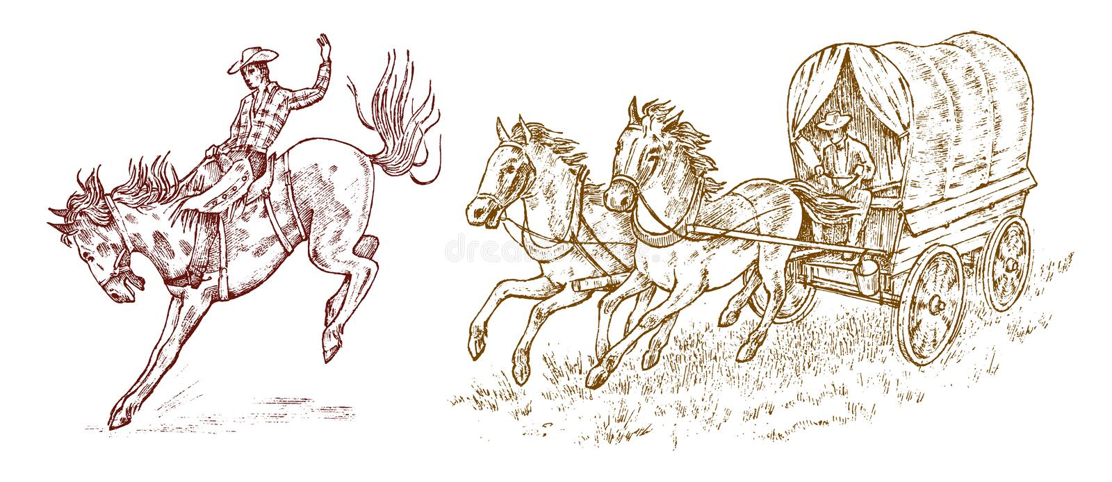 Cowboys in the carriage. Vintage horse harness or sheriff s cart. Western rodeo icon, Texas Ranger, Sheriff in hat. Wild. West, Country style. Hand drawn stock illustration