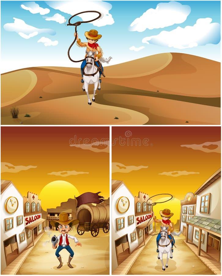 Cowboys dans trois scènes différentes illustration de vecteur