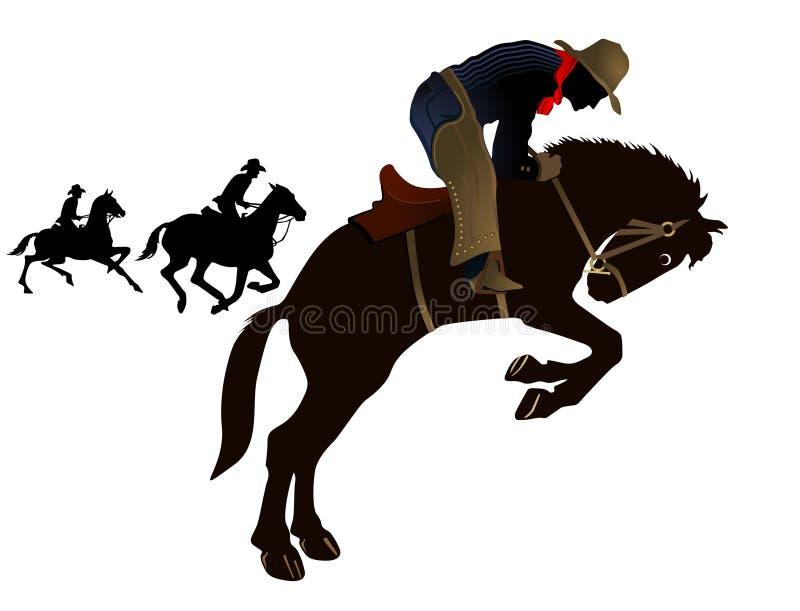 Cowboys de rodéo illustration de vecteur