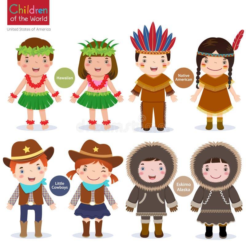 cowboys eskimo van de V.S. van de kinderenwereld de Hawaiiaanse inheemse Amerikaanse