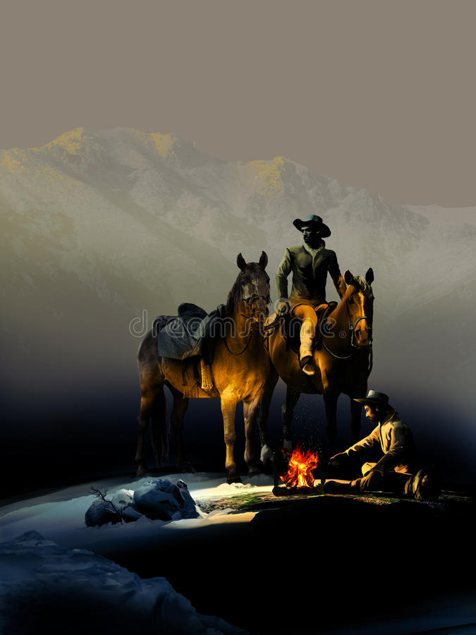 Cowboys and fire. Two cowboys and their horses, close to a fire, somewhere in the mountains royalty free illustration