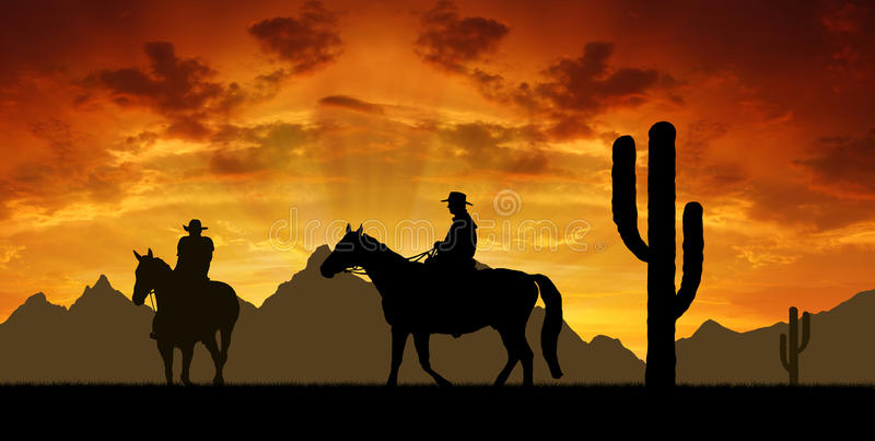 Cowboys with horses stock photos