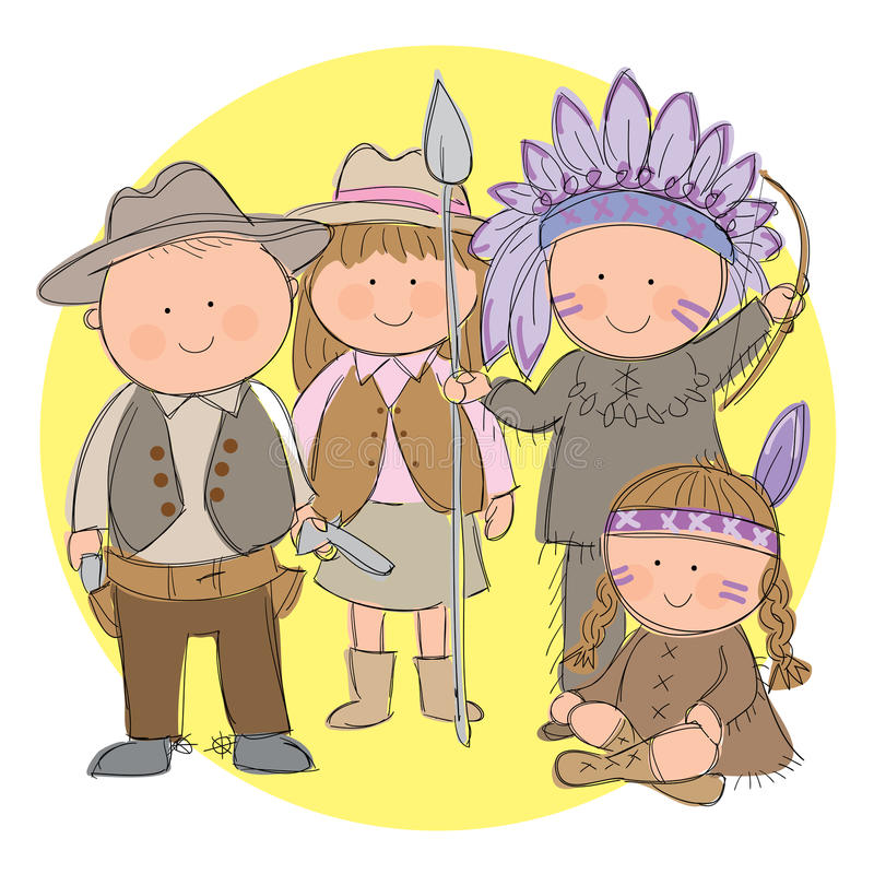 Cowboys and Indians. Hand drawn picture of children dressed up as Cowboys and Indians. Illustrated in a loose style. Vector eps available stock illustration