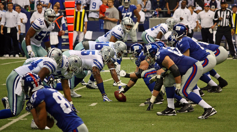 Cowboys NY Giants Offense Dallas Defense stock images