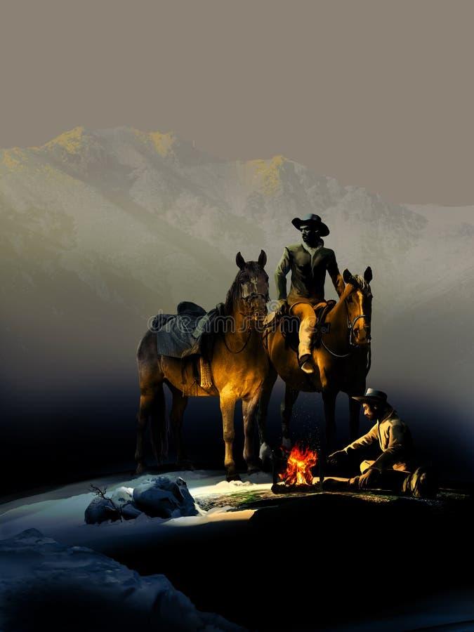 Cowboys och avfyrar royaltyfri illustrationer