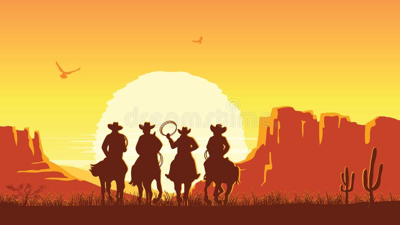 Cowboys riding horses at sunset. Vector prairie landscape with sun. Cowboys riding horses at sunset. Vector prairie landscape desert with sun stock illustration