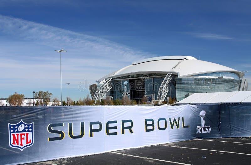 Cowboys Stadium Super Bowl Sign stock photos