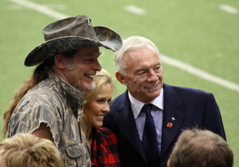 Cowboys Ted Nugent and Jerry Jones royalty free stock image