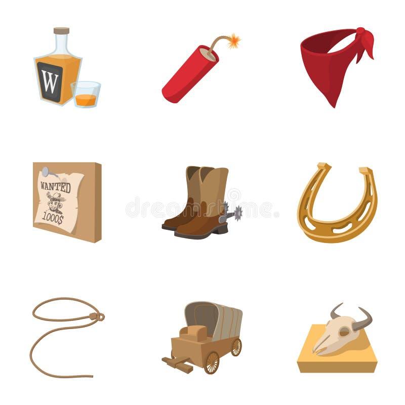 Cowboys van geplaatste de pictogrammen van Wilde Westennen, beeldverhaalstijl vector illustratie