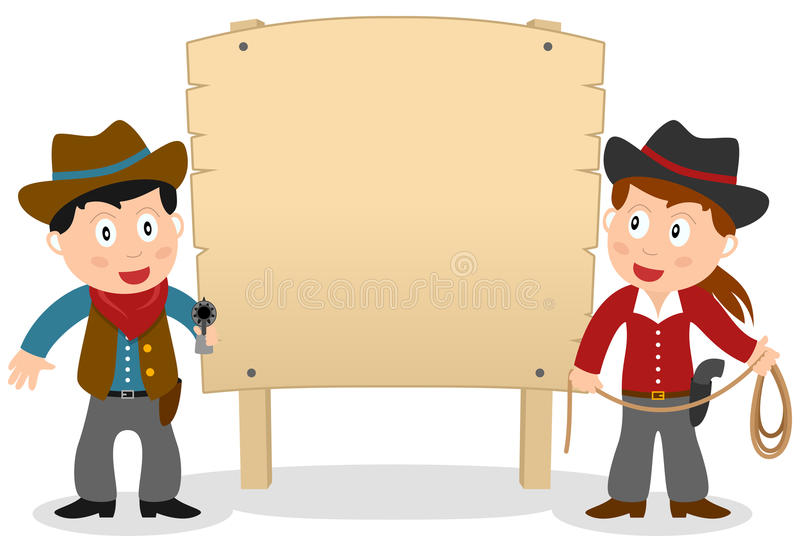 Cowboys and Wooden Banner stock illustration