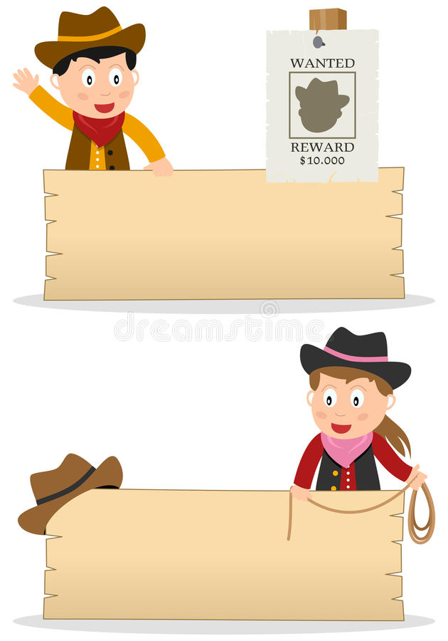 Download Cowboys and Wooden Board stock vector. Image of signboard - 31768541