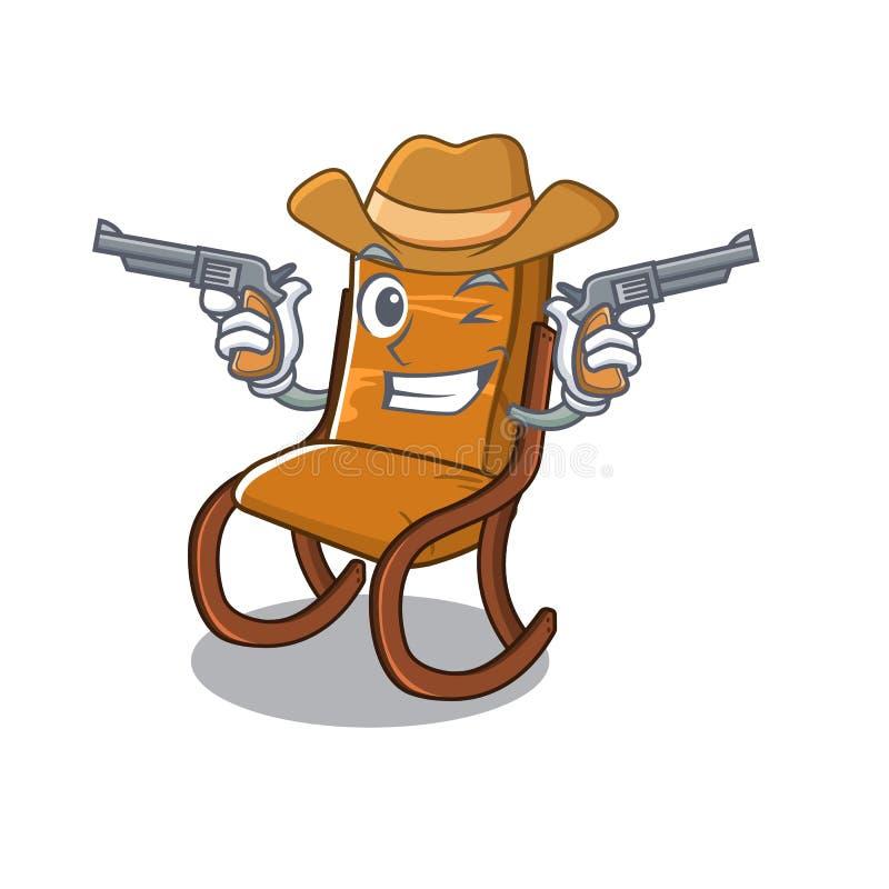 Cowboyschaukelstuhl im Karikaturwohnzimmer stock abbildung