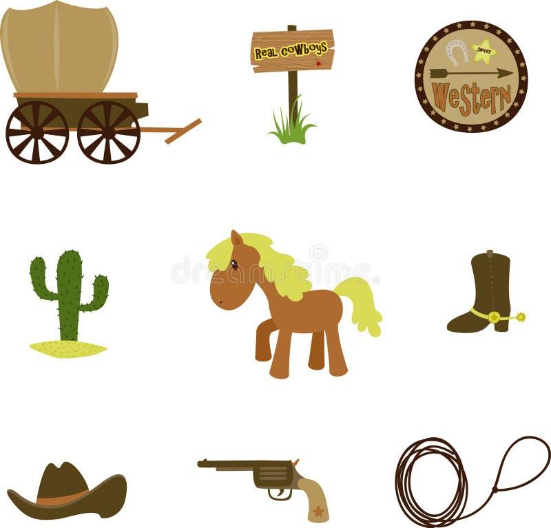 Cowboyset vektor illustrationer