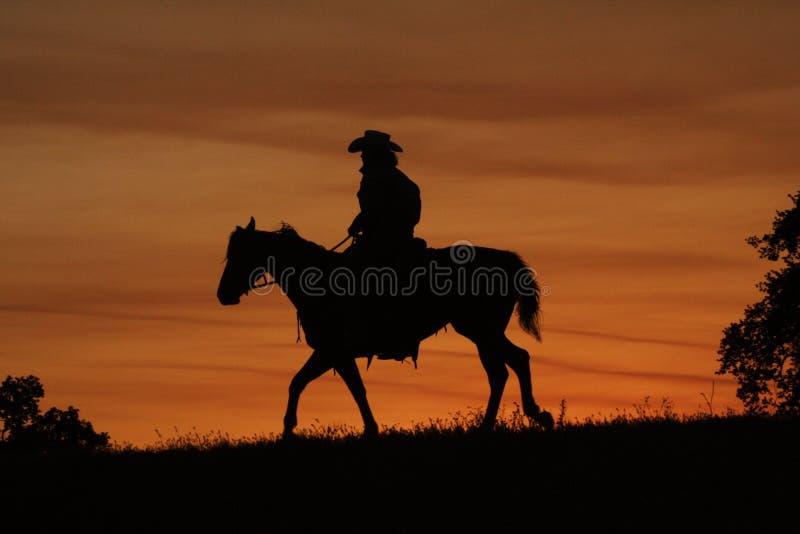 cowboysilhouette royaltyfria foton