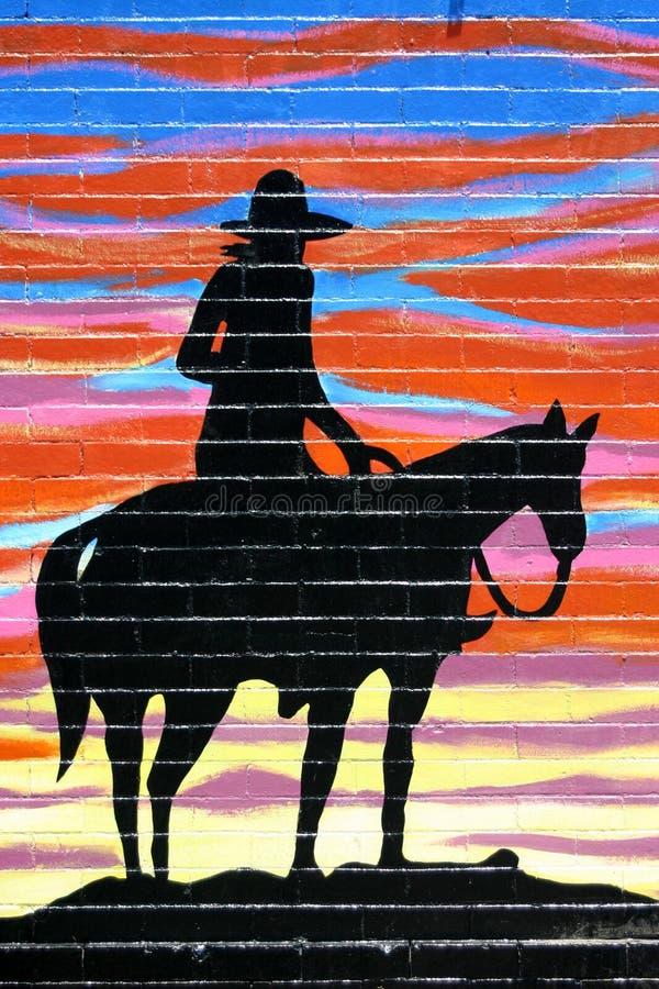 cowboysilhouette royaltyfri illustrationer