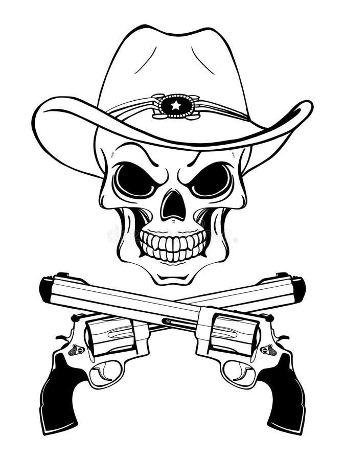 Cowboyskalle i en västra hatt och ett par av korsade vapen arkivbild