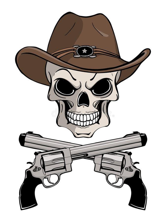 Cowboyskalle i en västra hatt och ett par av korsade vapen arkivfoton
