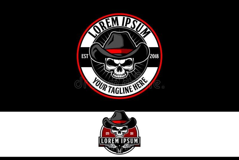Cowboyskalle med mallen för logo för vapenemblemvektor stock illustrationer