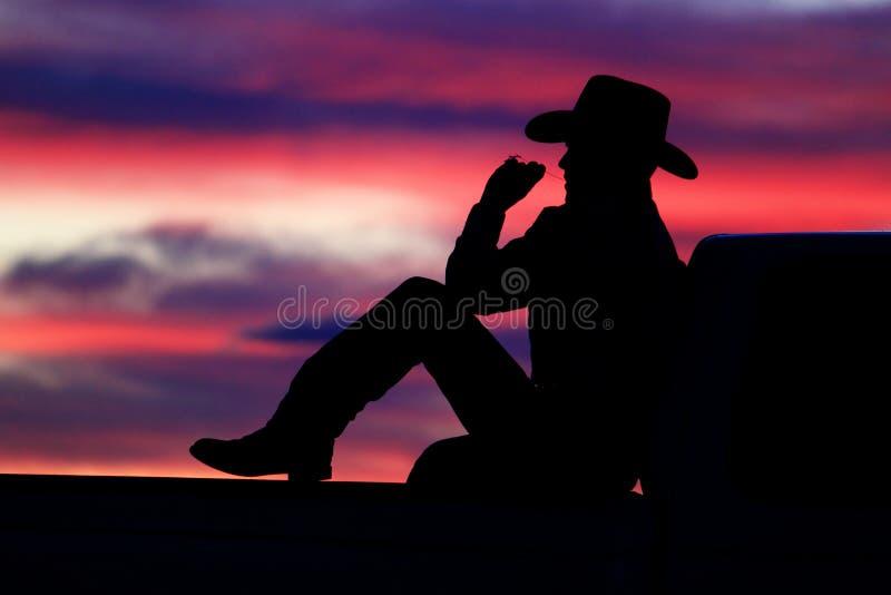 cowboysolnedgång royaltyfria foton