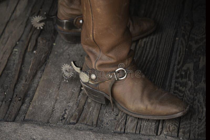 Cowboystiefel mit Spornen lizenzfreies stockfoto