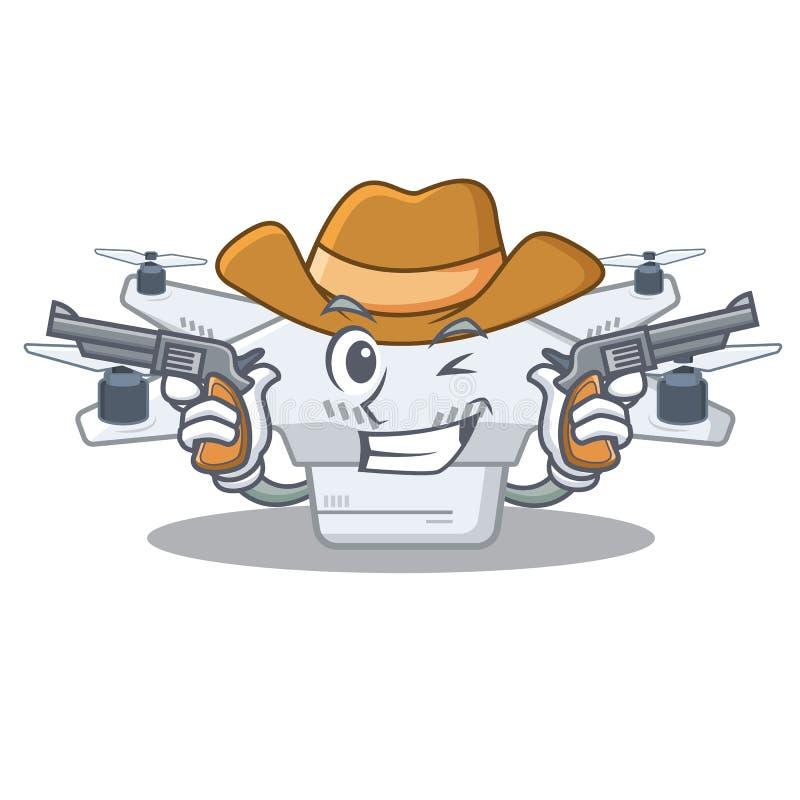 Cowboysurr som isoleras med i maskot stock illustrationer