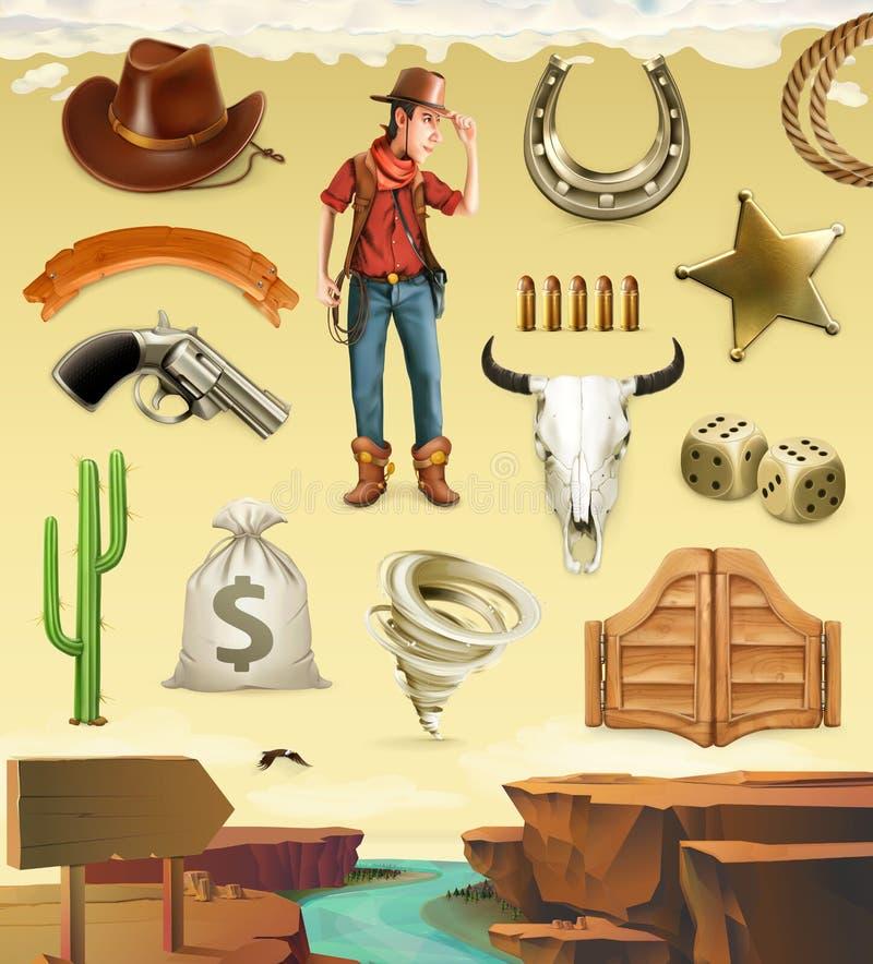 Cowboytecknad filmtecken och objekt symbolsuppsättning för vektor 3d vektor illustrationer