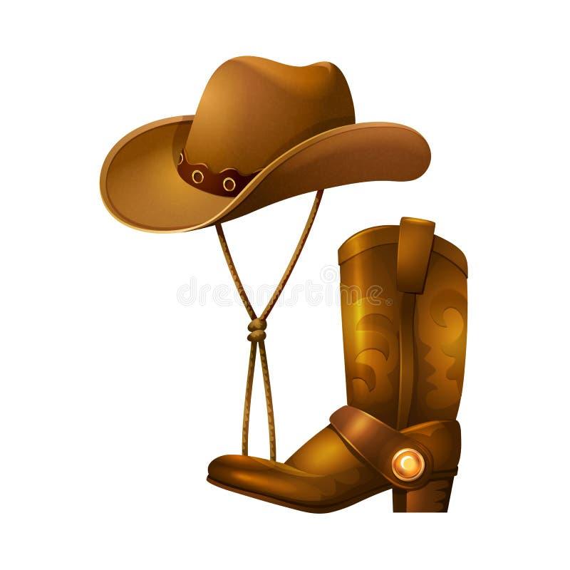 Cowboytillbehör i form av en hatt och läderkängor stock illustrationer
