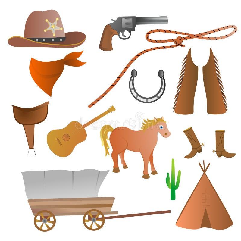 Cowboyuppsättning royaltyfri illustrationer