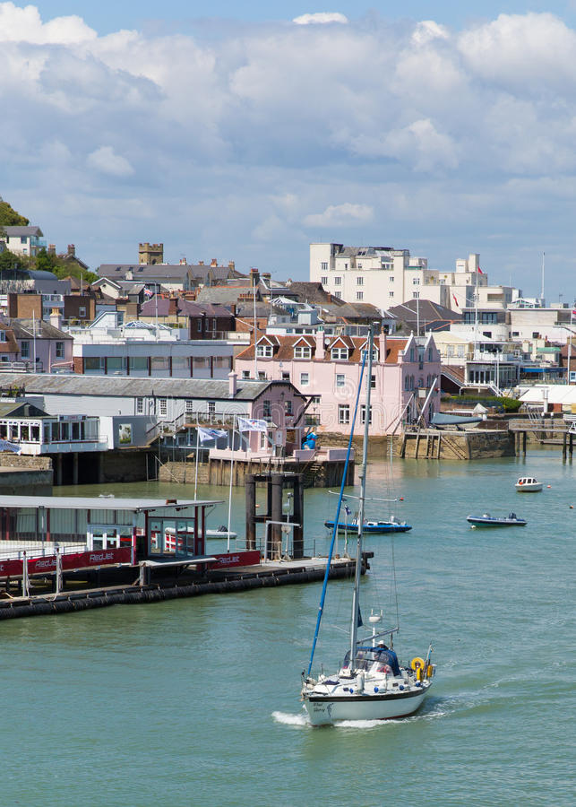 Cowes harbour Isle of Wight with blue sky stock photos
