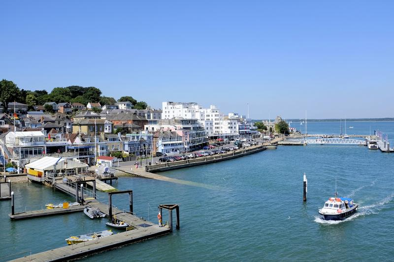Cowes, Isle of Wight, UK. June 26, 2018. The tourist attraction of the town and Parade at the Yachting capital of the world of Cowes on the Isle of Wight,UK royalty free stock photos