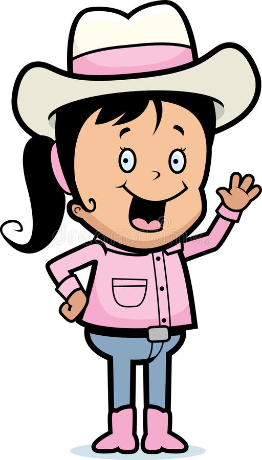 cowgirl κυματίζοντας διανυσματική απεικόνιση