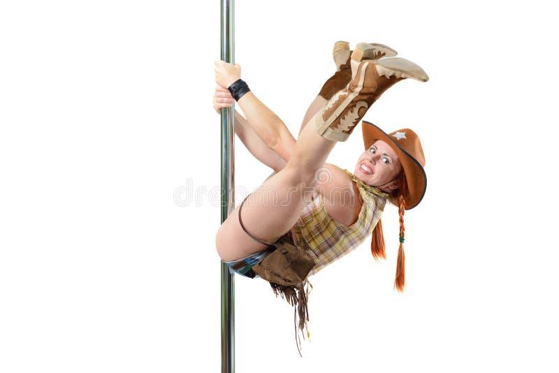 Cowgirl σε έναν πόλο στοκ εικόνα με δικαίωμα ελεύθερης χρήσης