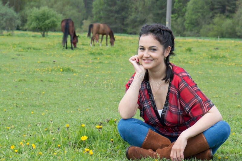 cowgirl χαμογελώντας στοκ φωτογραφίες