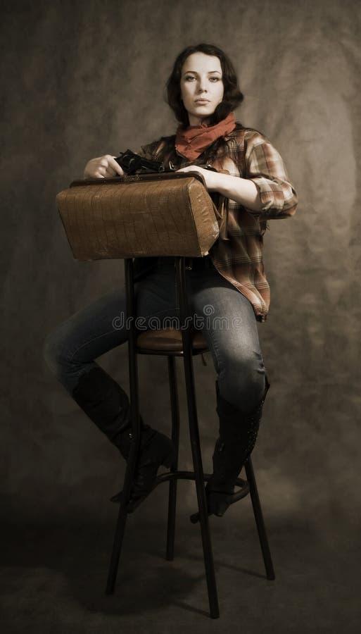 Cowgirl americano immagine stock