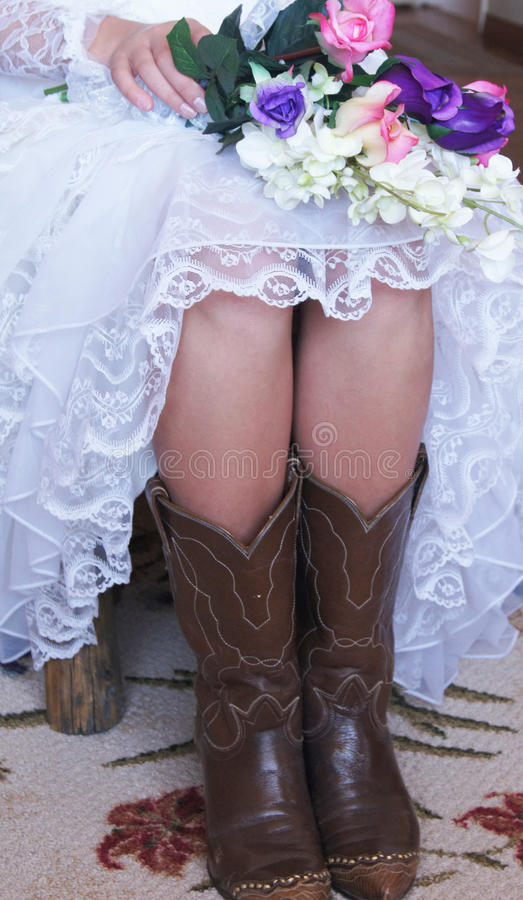 Cowgirl Bride royalty free stock photos