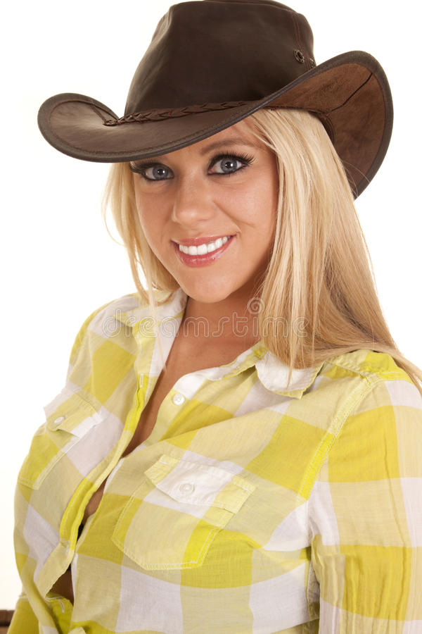 Cowgirl close head hat green plaid smiling royalty free stock photos
