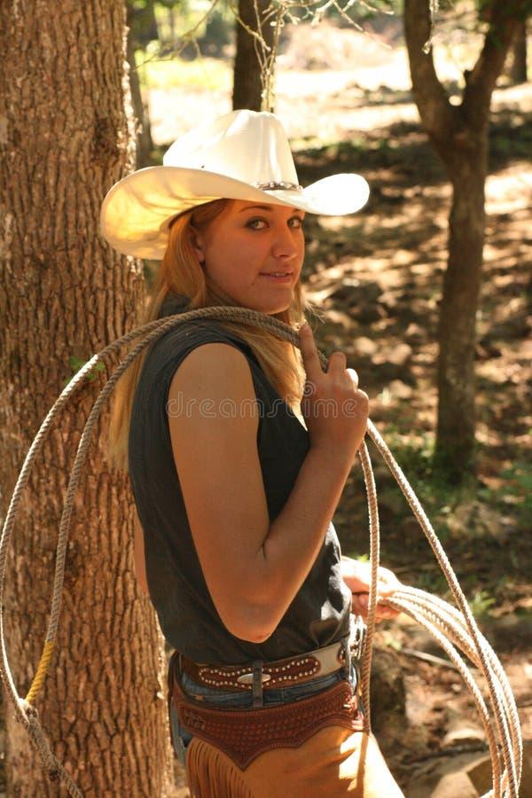 Cowgirl com corda imagens de stock