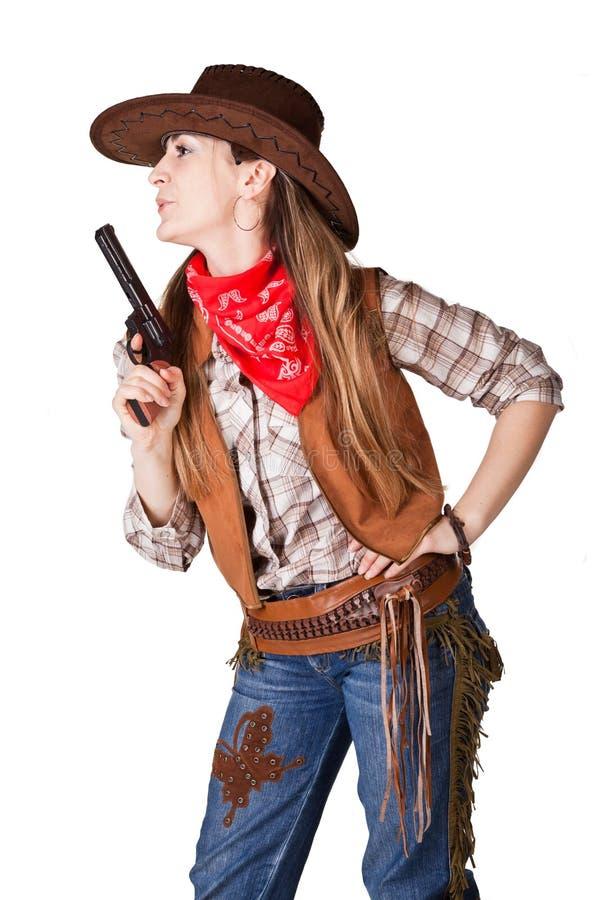 cowgirl con un arma fotos de archivo