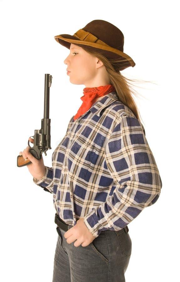 Cowgirl con una pistola 2 fotografia stock libera da diritti