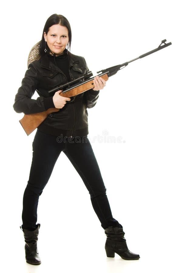 Cowgirl con una pistola fotografie stock